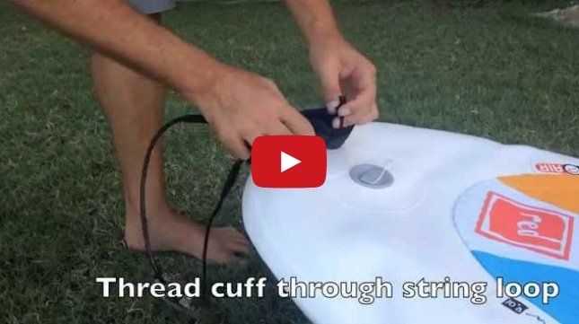 how to attach your stand up paddle board leash to you and your board