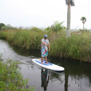 Paddling on an inflatable Red Paddle Co SUP