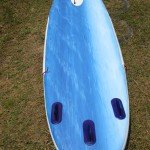 Red Paddle Co 10ft Surfer SUP underside from tail