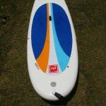 Red Paddle Co inflatable paddle board top deck from tail