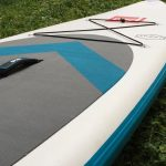 Deck and carry handle on Red Paddle Co SUP board inflatable