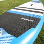deck pad on fanatic fly air paddle board green water sports