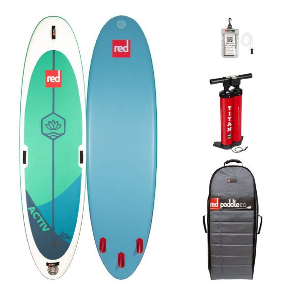 2020 red paddle co 10-8 activ yoga pilates fitness paddle board inflatable sup green water sports