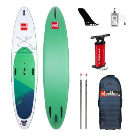 2020 red paddle co 12-6 voyager best inflatable touring and adventure sup paddle board green water sports