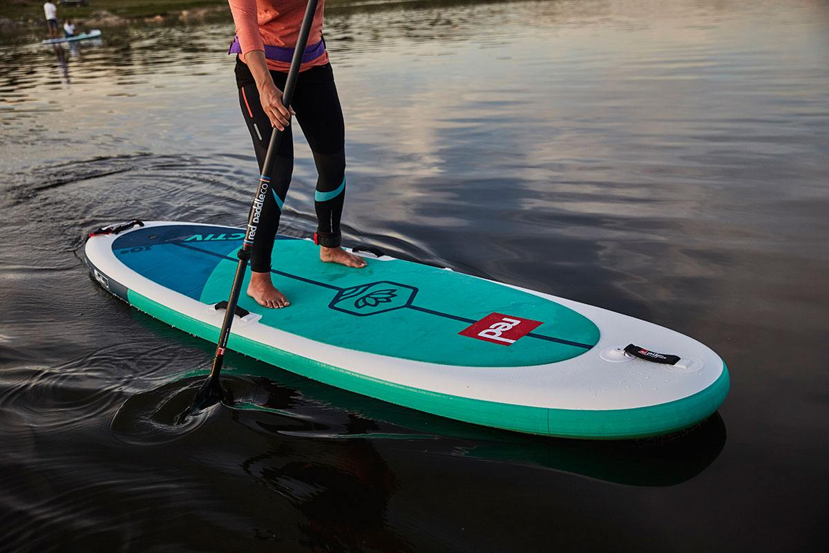 red paddle co 2020 yoga paddle board green water sports