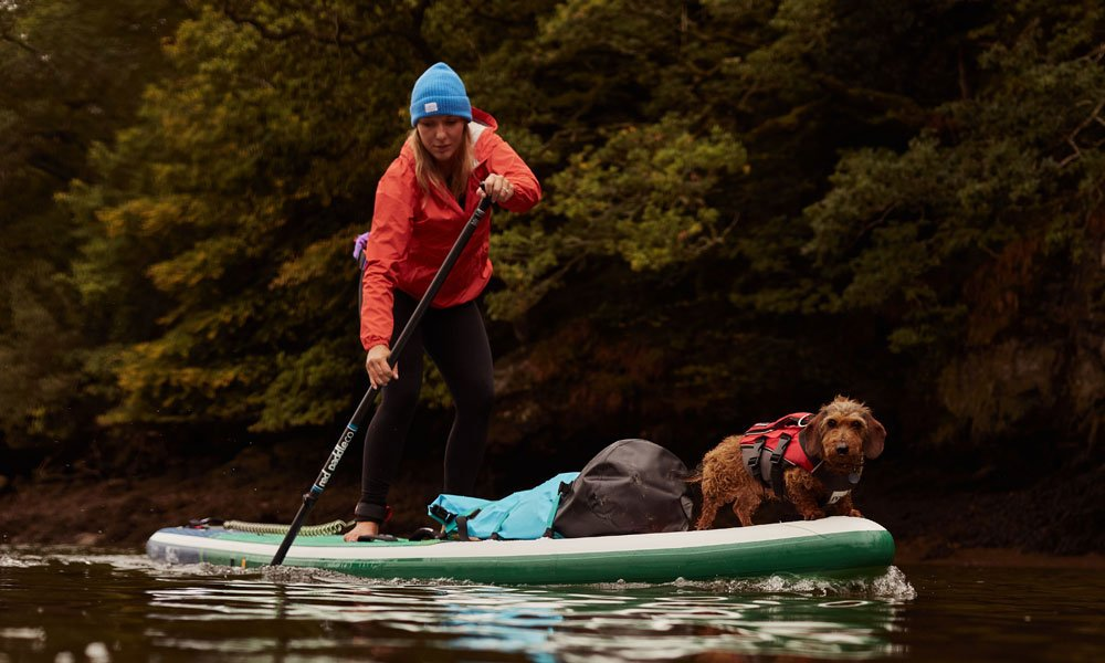 paddling with dogs in winter